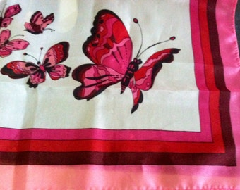 Vintage 1970s Pink Red Burgundy White Butterfly Square Scarf  23 Inch epsteam