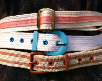 Vintage Lot of 3 Webbed Belts Peach Turquoise  Rust epsteam M Sale