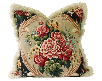 Floral Barkcloth Pillow w/ Brush Fringe - Large Custom Decorator Pillow - 24 x 24