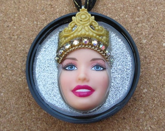 Royal Aspirations - Upcycled Barbie Doll Pendant