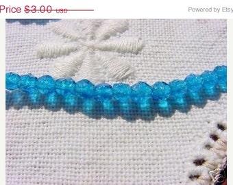 ON SALE Sparkling Capri Blue Rough Cuts Vintage Glass Beads