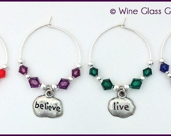 Words to Live By Wine Charms
