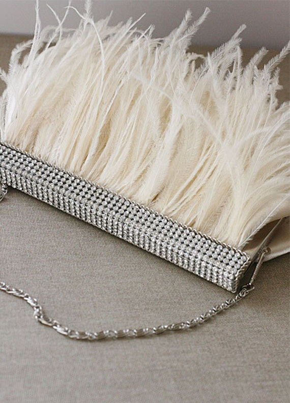 ELISE  Crystal and Ostrich Trimmed Clutch