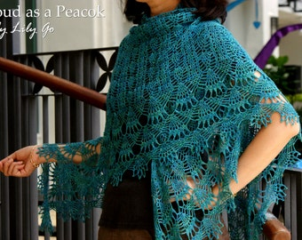 Proud as a Peacock Crocheted Shawl in PDF File