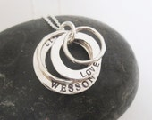 Eternity stack hand stamped sterling necklace