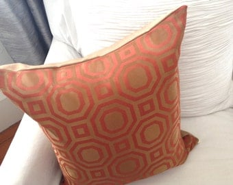 Mod Designer Red and Gold Pillow Sham Deco Look