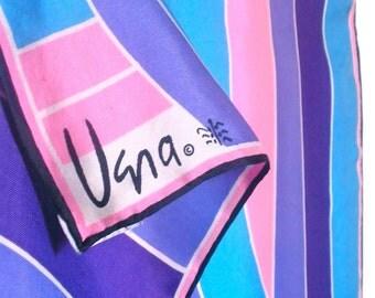 SALE - Take 50% off all VERA - Post Modern Pink - a vintage 1970's Vera Neumann Color-Blocked Silk Scarf