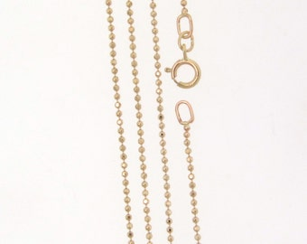 "14K Solid Gold Diamond Cut Ball Chain With Clasp, 16 Inches Or 18"", Yellow Gold or White Gold"