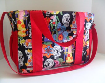 Day of the Dead Diaper Bag - Dia de los Muertos bag - Messenger Bag - Overnight Bag -  Diaper Bag - Laptop Bag