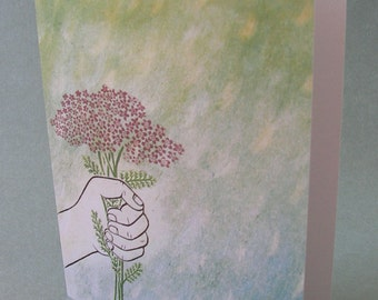 5 x 7 Notecard - A014 HANDFUL OF FLOWERS - thank you card - congratulations card - apology card - nature card - bouquet - yarrow plant