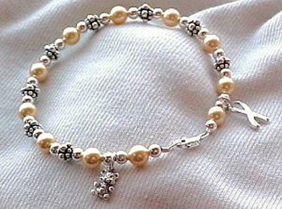 Childhood Cancer Awareness Hand-crafted Sterling Silver & Swarovski Pearl Bracelet