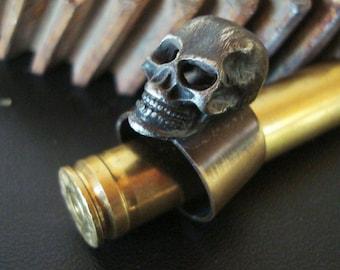 Gothic, Jewelry, Ring, Human Skull, Metal Bonded NOT Glued, Handmade, Adjustable Quality Ring Base, Skeleton Head, Bones, Custom Original
