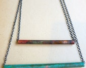 Double Patina Bar Necklace