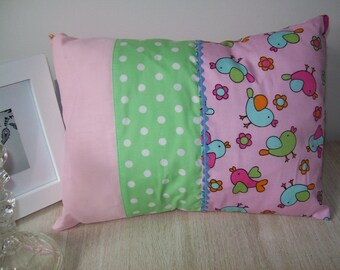 Childrens Pillow Sweet Birdies small cushion Pink green