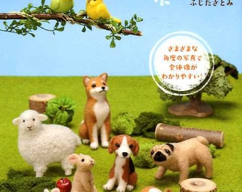 Palm Size Needle Felt Wool Cute Animals  - Japanese Craft Book
