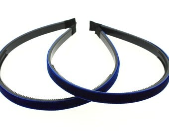 "2 pieces - 10mm (3/8"") Velvet Lined Headband with Teeth in Royal Blue - Hair Accessories"