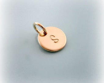 Gold Initial Charm. Small 3/8 Gold Initial Charm. Letter Charm. Personalized Initial Charm