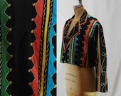 vintage Harlequin Cropped Jacket appliqued and embroidered M L