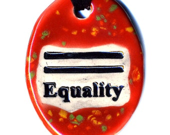 Equality Ceramic Necklace in Speckled Red