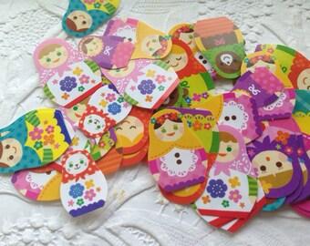 70 adorable matryoshka Russian doll sticker seals 10 designs