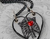 Ribcage Skeleton Heart Pendant Necklace