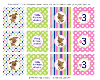Printable Puppy Dog Girl Birthday Cupcake Toppers