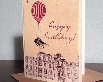 Flying Shoes Happy Birthday - Gocco Printed Hot Air Balloon Art Card