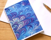Marbled Paper Design Notebook no.6, Mini Journal, Small Jotter, Travel Notebook, Mini Diary,  Blue Purple & White, Eco-Friendly