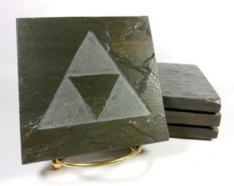 VIDEO GAME COASTERS - Carved Natural Slate Stone Coasters - Sacred Geometry Design as seen in Zelda
