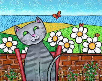 Grey Tabby Cat with butterfly ocean print from painting by Shelagh Duffett