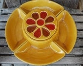 Vintage Mid Century California Pottery 695 Chip and Dip Serving Set