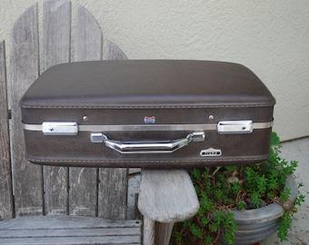 Vintage American Tourister Tiara Brown Suitcase Luggage Hard Shell Plaid