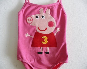 PEPPA PIG LEOTARD - Piggy leotard - Personalized w/ Birthday Number and Name - Peppa Party- Peppa Birthday - Adult sizes available too.