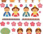 Beautiful Japanese Stickers Hina Matsuri Doll Festival Plum blossoms  S150