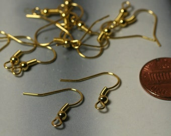 Bulk Order 120 pcs Gold tone fish hook ear wire with ball and coil, 18x18mm (item ID XMHB00070ABE)
