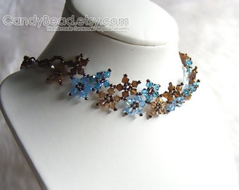 Swarovski Crystal Necklace, Sweet Brown and Blue Multiflora Swarovski Crystals Necklace by CandyBead
