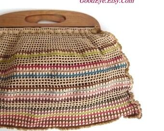Vintage Crochet Handbag w Wooden Handle / Handmade 1940s 50s era Large Tote / Knitting Bag Colorful Yarns / 20 x 13 inches