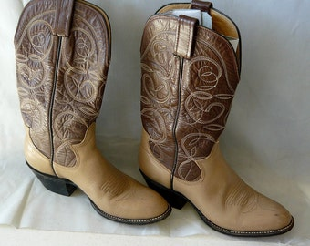 size 6 Western Ankle Boots Ladies Leather SANDERS Eu 37 .5  UK 3 .5 Brown Tan Flame Stitched Rockabilly