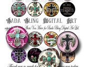 1.5 inch Glitzy  Cowgirl Crosses...  religiouscollage sheets,  INSTANT Digital Download, collage sheets for cross pendants