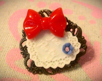 TEA PARTY Lolita Bow Heart Cameo Ring in Red, White, and Blue 4th of July usa OOAK - clearance sale