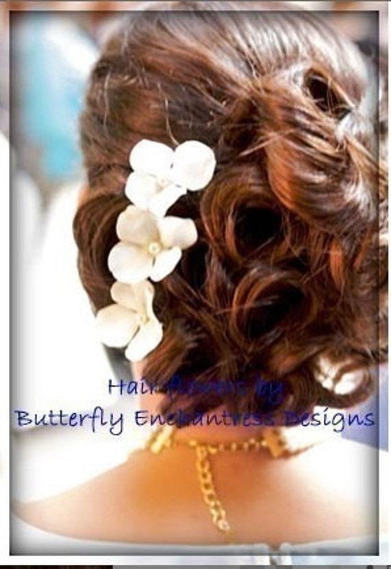 Wedding Hair Accessories, Bridal Hair Pins, Hair Flowers - 6 Pearl Ivory Hydrangea Bridal Hairpins