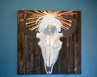 Buffalo Skull & Night Blooming Cereus Blossom Painting