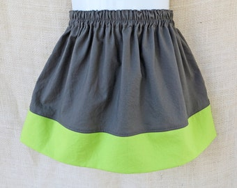 Sizes 6/12mo to 8yrs - MISTY LIME Color Block Simple Skirt- Boutique Girls Skirt