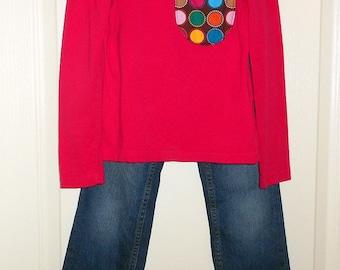 Upcycled Girls Long Sleeve and Ruffle Jeans Size 6