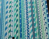 Beach Party Staws -- set of 25 -- Caribbean, aqua, blue, teal, turquoise -- tropical Ocean Water Paper Drinking Straws