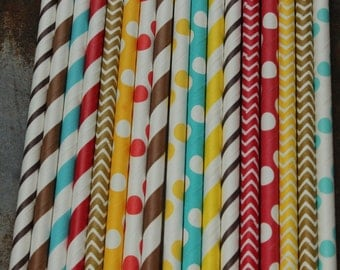 Sock Monkey Boy Party Straws -- set of 25 -- Red, Brown, Aqua, Yellow  -- Paper Drinking
