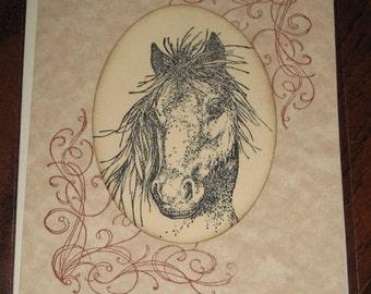 Horse Bust Wedding Day Card