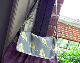 Olive Purple Messenger Bag - Ginko Leaves - Adjustable Strap - 3 pockets