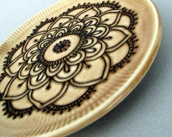 Handmade Henna Design Plate - Mehndi Design Pottery