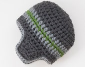 Toddler Boys Hat  Ear Flap Hat  Toddler Beanie  Gray and Kelly Green  12 to 36 months